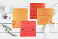 """Details here: Card Code:- CW-1521 Price: $1.20 Size:- 8.38"""" X 8.38"""" Weight: 65 Grams Card Color:- Pink Paper Type:- Shimmer Paper Insert's Color: Red,Yellow Insert's paper type: Shimmer paper Process:- Silk Screen Printing, ..."""