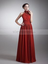 FLORAL HIGH NECK CHIFFON A LINE EVENING DRESS WITH PLEATING