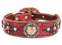 Red Leather Dog Collars with Swarovski Crystal bling | Western Dog Collar for Small to Large Dogs | Hermann Oak Leather $165.00