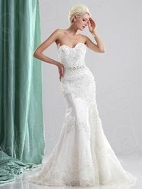 Trumpet Mermaid Sweetheart Court Train Organza Wedding Dress H5b12261lbld for 301.42 �'� # landybridal