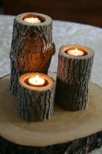 Set of 3 - Tree Branch Candle Holders - Wood Candle Holder for Wedding, Center Piece, Rustic Décor.