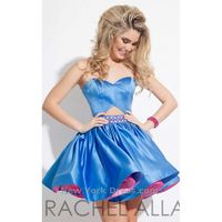 Vogue Mini/Short Blue Sweetheart Ball Gown Sleeveless Keyhole Back Satin Beading Cocktail Dress - Truer Bride - Find your dreamy wedding dress