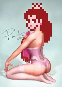 Apostup of Peach from Super Mario Bros. funny, love the tramp stamp.