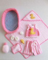 PB034 Doll Bath Set Crochet Pattern- Doll Bath Set Pattern comes complete with a bathtub, wash cloth, soap, and shampoo. This cute set has plenty of pieces and accessories to keep her busy. et at an intermediate crochet level, the Doll Bath Set clothing f...