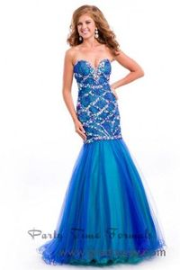 Party Time 6525 Peacock Sparkly Mermaid Evening Gown