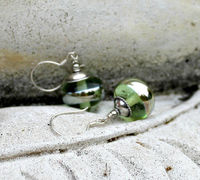 Luminous Green Lampwork and Sterling Silver Drop Earrings, Handmade Glass Earrings, Metallic Silver