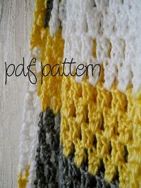 PDF Crochet Pattern - Beginner Easy - Yellow, Grey, and White Modern Granny Stripe Throw