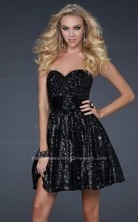 A-Line Black Sequin Strapless Homecoming Dresses Cheap