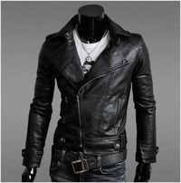 Men's PU leather biker jacket NOW $39.95 only!