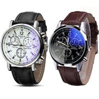 Price: $23.90 | Product: Luxury Fashion Faux Leather Blue Ray Glass Quartz Analog Watches | Visit our online store https://ladiesgents.ca