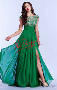 Mac Duggal 10008M Beaded Slit Long Prom Dresses 2016