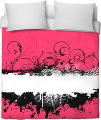 ROB Hot Pink Black And White Duvet Cover $100.00