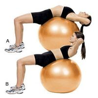 Lie face up on a Swiss ball, with your navel at the center of the ball. Place your hands behind your head. From this position curl your torso up, pause, and the