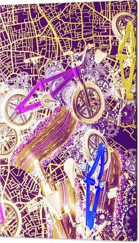 Bicycle Pop Art Wall Print | Fine art photograph on an aerial town view mapping a creative biking tour. Tracks and tyres | #wallprints #bikelife #bikeart #bikeshop #bicycleart #bicycles #popart #sportdecor