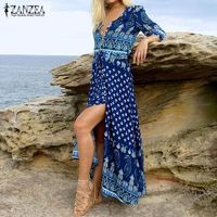 ZANZEA Women Vintage Print Long Dress 2018 Bohemian Sexy V Neck 3/4 Sleeve Casual Loose Split Beach Maxi Party Dresses Vestidos $41.26