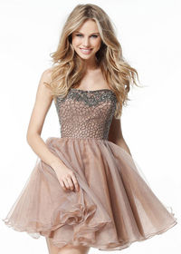 Absolutely Short Nude Gunmetal Strapless Beaded Organza Prom Dress