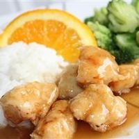 Asian Orange Chicken -Reduce cornstarch to 2 tsp. & dissolve in 1 Tbsp. water before whisking into sauce. Transfer chicken to serving platter & pour sauce over all. Don't heat chicken in sauce or crispy coating will flake off into sauce. Add A...