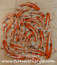 wildfire orange koi sliced pebble shower floor mosaic tiles
