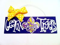 4x12 LSU Geaux Tigers Hand Painted Wood Sign by geauxgirldesigns, $30.00