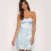 Sexy Classy 3D Flower Solid Color Strapless Party Dress