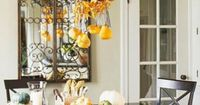 When decorating for Fall and the holidays, don't forget your chandelier. #FallDecor #Halloween #HomeAccessories