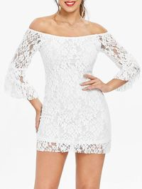(-69% OFF) Off-The-Shoulder Sexy Boat Neck Solid Color Trumpet Sleeve Women's Lace Dress. https://www.dresslily.com/solid-color-lace-dress-product651805.html?lkid=78381457