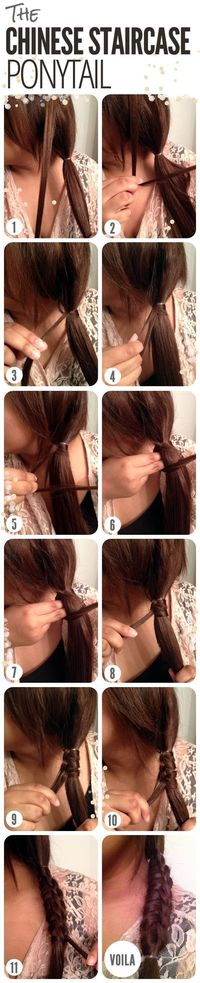 The Chinese staircase ponytail is a great way to spice up your everyday ponytail! For those second-day hair mornings or when you simply want a change, try this