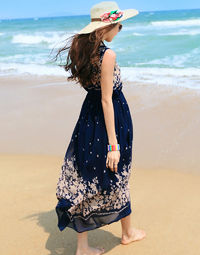 Blue Bohomian Casual Printed Beach Sleeveless Maxi Dress
