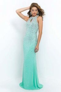 2015 Hot High Neck Mint Green Chiffon Gown With Keyhole Detail