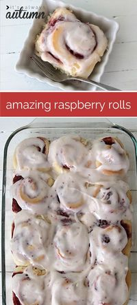Similar to a cinnamon roll, these homemade raspberry rolls are heavenly and perfect for baking for brunch. Step by step photos and recipe included.