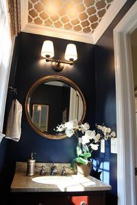 Navy Walls + Gold Patterned Ceiling.