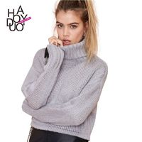 2017 new wind in winter fashion Turtleneck Sweater dropped shoulders and long sleeves pullover - Bonny YZOZO Boutique Store