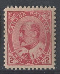 Canada #90i (SG#177) 2c Pale Rose Carmine Edward VII Type 2 Paper With No Visible Mesh VF-75 NH $167.99