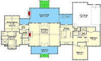 Exclusive Farmhouse Plan with Side Entry Garage - 130010LLS floor plan - Main Level