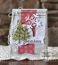 Card by Amy Sheffer. Caring Hearts Card Drive Hop. Reverse Confetti stamp set: Confetti Cuts: Christmas card.