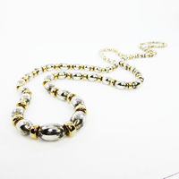 """Sterling Silver Oval Beaded Necklace, w/ 925 & Gold Wash Rondelle Spacer Beads, 30"""" Opera Length, BOHO Vintage 1960s 1970s $195.00"""