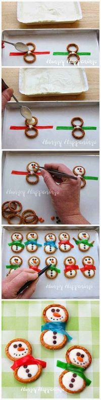 Pretzel rings, Fruit Roll-Ups, and frosting are an easy way to make delicious snowman cookies. | 38 Clever Christmas Hacks That Will Make Your Life Easier