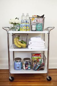 Check out this guest-room cart DIY that's perfect for providing your overnight guests with anything they could wish for, all in one convenient (and portable!)