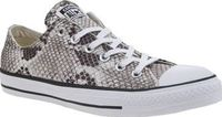 Converse Stone All Star Snake Ox Womens Trainers Its all in the details and the Converse All Star Snake Ox ensures you stay right on-trend this season. This iconic silhouette features a silky fabric upper adorned with a stone coloured reptile print http:/...