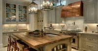 Wow! So much to love ~ the lighting, the worn top of the island, the copper vent hood, the back splash, the glass cabinets, the beams, the built ins, the cabinet color, the windows above the cabinets that bring in more natural light...