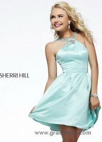 Light Blue Short Party Dress With Beaded Straps
