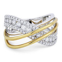 1.18ct Round Cut Diamond Pave Overlap Swirl Right-Hand Statement Ring in 18k White & Yellow Gold