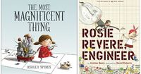 A selection of children's books with inventive, creative girls in them, ideal for celebrating International Women's Day