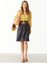 I'm thinking I might try some skirts in Fall 2011...hoping that I can replicate this outfit (all from Banana Republic.)