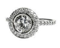 Gold ring Halo Diamond Ring 0.90 ct. Surrounded with 56 Diamonds in 18K White Gold $1518.00