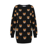 Moschino Teddy Bears Womens Knitted Long Sleeves Sweater Black