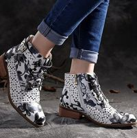 Fashion Elegant Party Ankle Floral Boots for Women