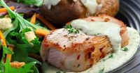 Diabetic friendly, low carb Herbed Pork Chops on Mustard Sauce recipe from Diabetic Gourmet Magazine recipe archive.