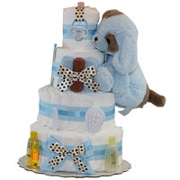 Blue Puppy Boy Diapercake   Ultra-soft plush Puppy   Baby pacifier  Super soft baby washcloths  Infant comb & brush set  Johnson's baby shampoo  Johnson's baby lotion  70-74 premium Pampers Swaddlers, size 1 (up to 14lbs.)...