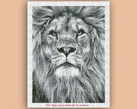 Lion Black and white colors Stitches: 150w x 200h Total Colors: 15 (DMC floss) Dimensions of the finished product: 14 count - 10.7 x 14.3 inch = 27,2w x 36,3h cm 16 count - 9.4 x 12.5 inch = 23,8w x 31,7h cm 18 count - 8.3 x 11.1 inch = 21,2w x 28...